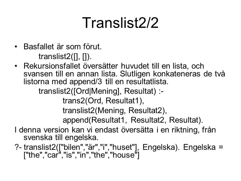 Translist2/2 Basfallet är som förut. translist2([], []).